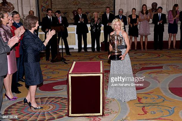 Queen Sofia of Spain applauds as Marta Dominguez receives the 'National sports awards 2009 at Palacio Real on May 3 2010 in Madrid Spain