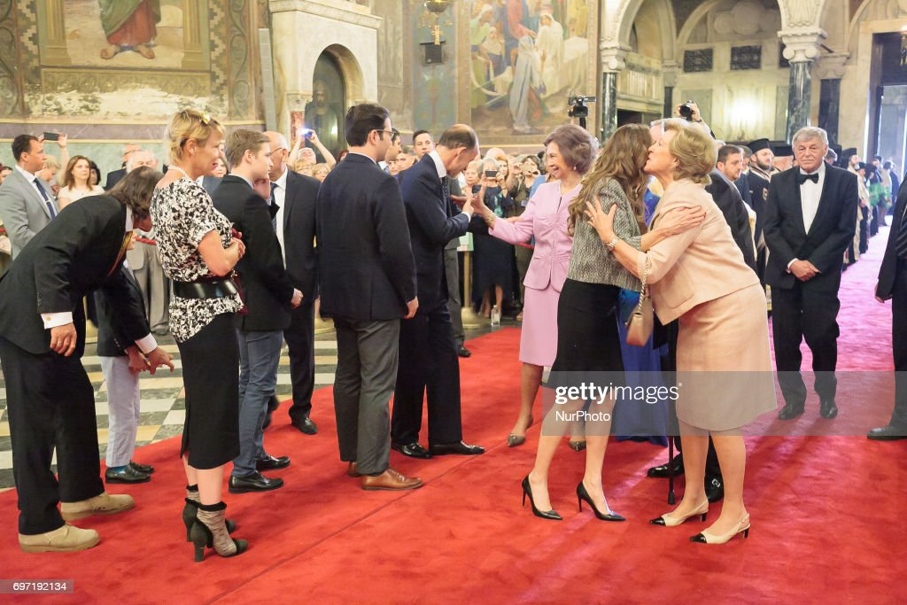 Queen Sofia of Spain (C) arrives a mass to celebrate the 80th birthday of the Bulgaria's ex-King and former Prime Minister Simeon Saxe-Coburg-Gotha at the golden-domed Alexander Nevski Cathedral in Sofia, on June 16, 2017.