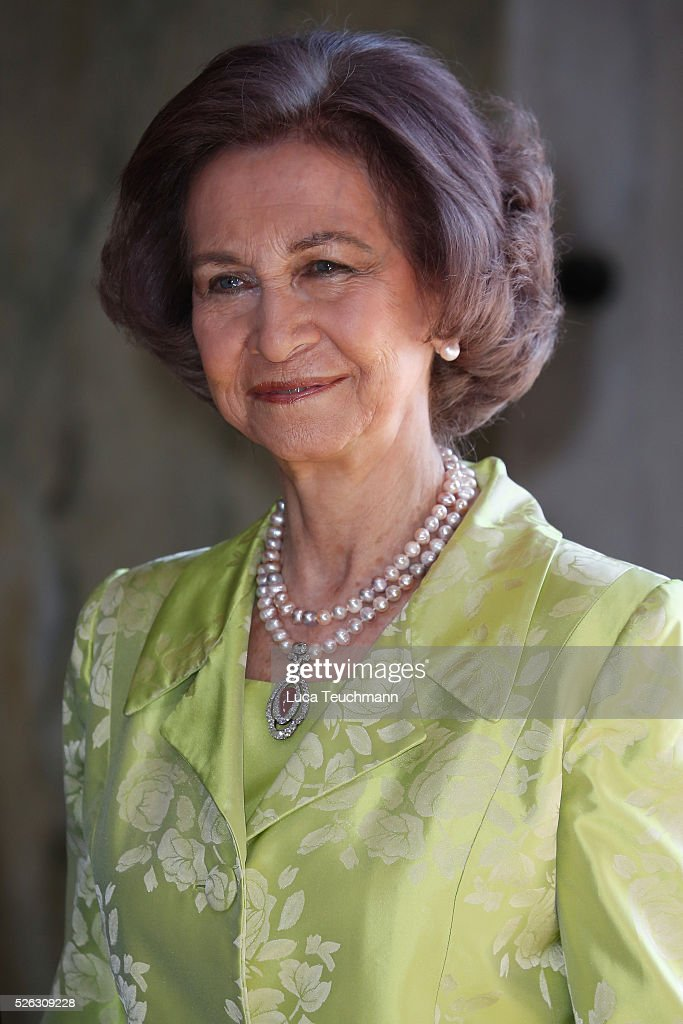 Queen Sofia of Spain arrives at the Royal Palace to attend Te Deum Thanksgiving Service to celebrate the 70th birthday of King Carl Gustaf of Sweden on April 30, 2016 in Stockholm, Sweden.