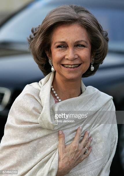Queen Sofia of Spain arrives for HM King Carl XVI Gustaf's private dinner to celebrate his 60th Birthday at Drottningholm Palace on April 29 2006 in...