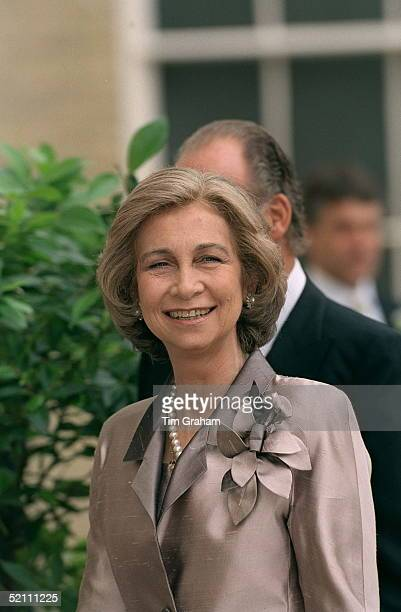 Queen Sofia Of Spain Arriving For The Wedding Reception For Princess Alexia Of Greece And Carlos Morales Quintana At Kenwood House London