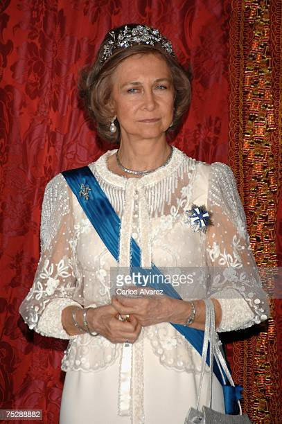 Queen Sofia of Spain at Royal Palace for a Gala Dinner on July 09 2007 in Madrid Spain