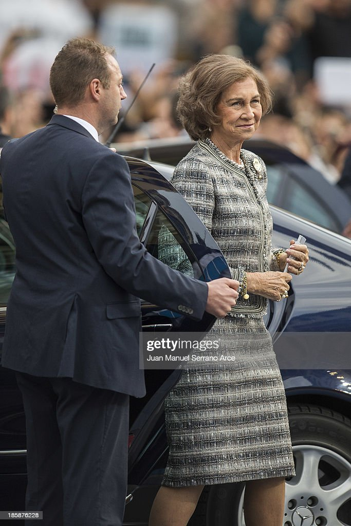 Queen Sofia of Spain attend the 'Prince of Asturias Awards 2013' ceremony at the Campoamor Theater on October 25, 2013 in Oviedo, Spain.