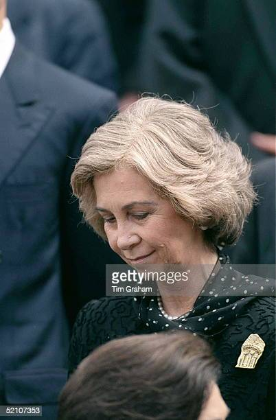 Queen Sofia Of Spain Attending The Memorial Service For King Hussein Of Jordan At St Paul's Cathedral London