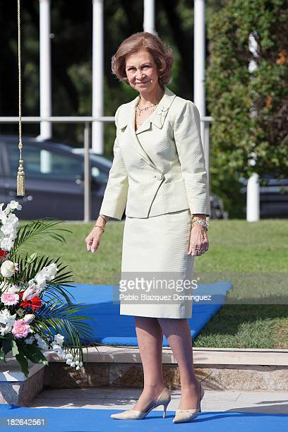 Queen Sofia of Spain attends a ceremony to officially unveil the Mahatma Ghandi sculpture at Plaza Joan Miro on October 2 2013 in Madrid Spain