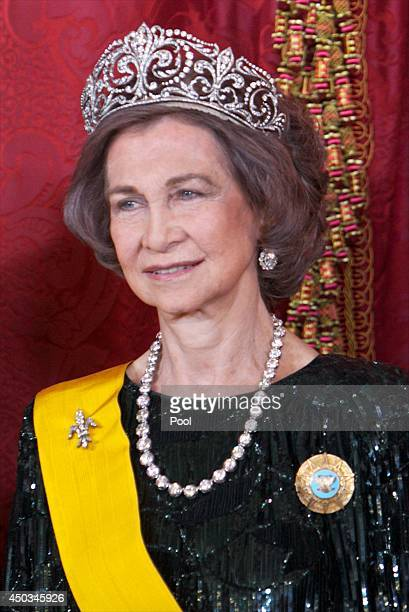 Queen Sofia of Spain attends a Dinner in honour of Mexican President Enrique Pena Nieto at The Royal Palace on June 9 2014 in Madrid Spain