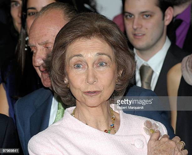 Queen Sofia of Spain attends a 'La Caixa' scholarship awards at the La Caixa headquarters on March 23 2010 in Barcelona Spain