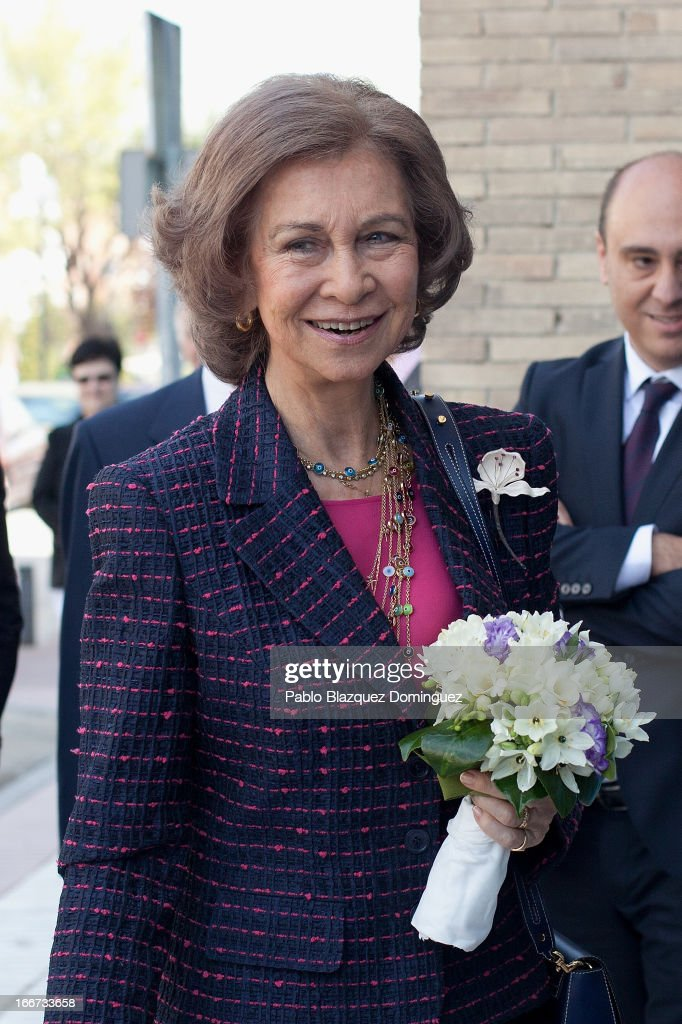 Queen Sofia of Spain attends a meeting with UNICEF on April 16, 2013 in Madrid, Spain.