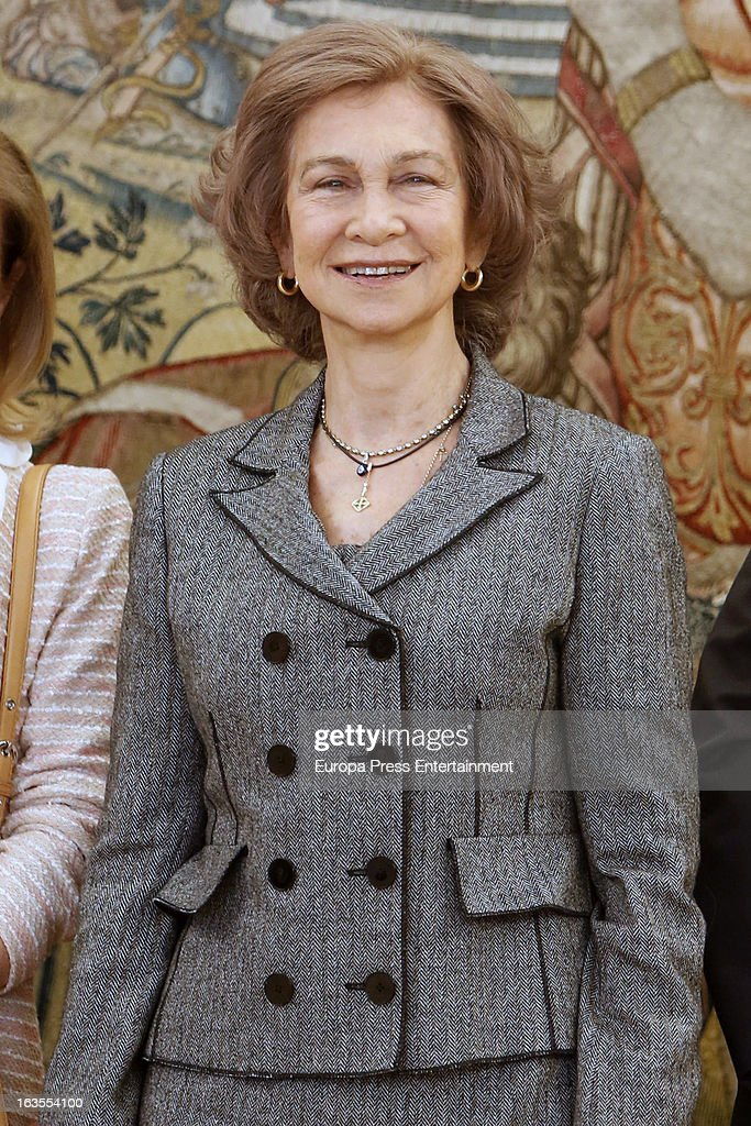 <a gi-track='captionPersonalityLinkClicked' href=/galleries/search?phrase=Queen+Sofia+of+Spain&family=editorial&specificpeople=160333 ng-click='$event.stopPropagation()'>Queen Sofia of Spain</a> attends a reception for members of Normon Laboratory at Zarzuela Palace on March 12, 2013 in Madrid, Spain.