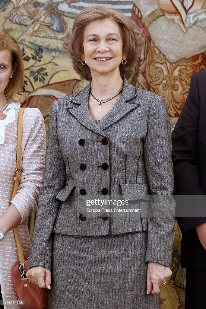 Queen Sofia of Spain attends a reception for members of Normon Laboratory at Zarzuela Palace on March 12, 2013 in Madrid, Spain.