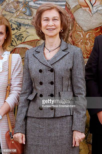 Queen Sofia of Spain attends a reception for members of Normon Laboratory at Zarzuela Palace on March 12 2013 in Madrid Spain