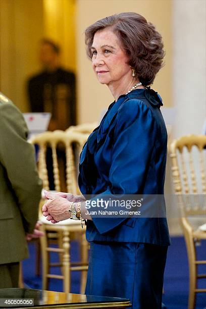 Queen Sofia of Spain attends closing ceremony of academic year of 'Escuela Superior de Musica Reina Sofia' at Royal Palace of El Pardo on June 12...