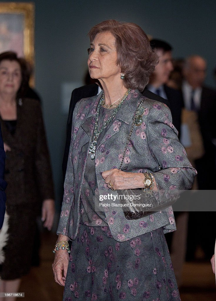 Queen Sofia of Spain attends 'El Joven Van Dyck' exhibition at the Prado Museum on November 19, 2012 in Madrid, Spain.