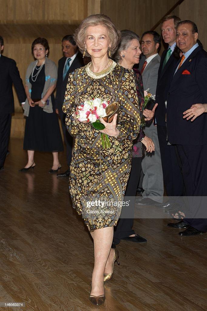 Queen Sofia of Spain attends 'India en Concierto' concert at Caixa Forum on June 19, 2012 in Madrid, Spain.