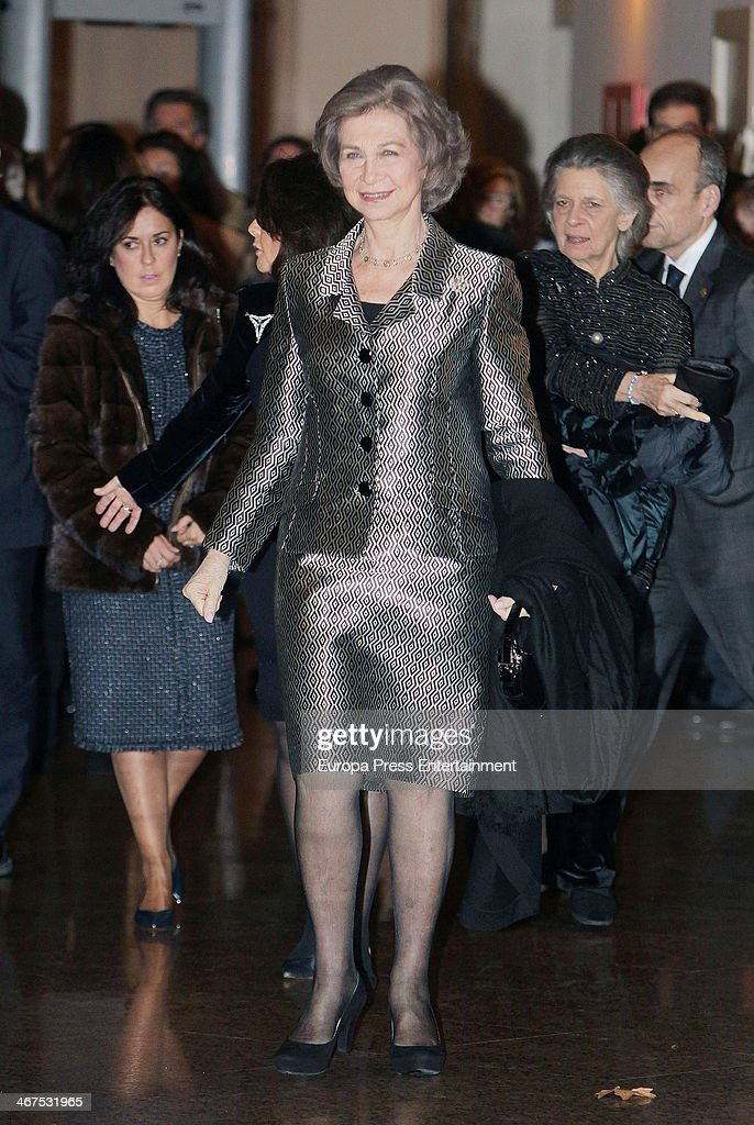 Queen Sofia of Spain attends 'Juventudes Musicales' concert at Auditorio Nacional on February 6 2014 in Madrid Spain