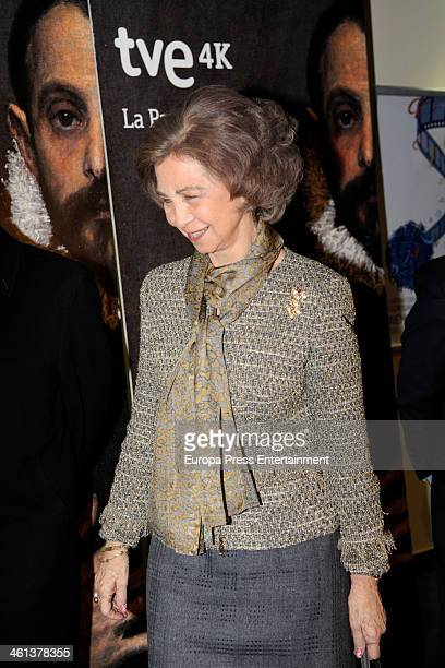 Queen Sofia of Spain attends 'La Pasion del Prado' documentary exhibition at Callao City Lights on January 8 2014 in Madrid Spain