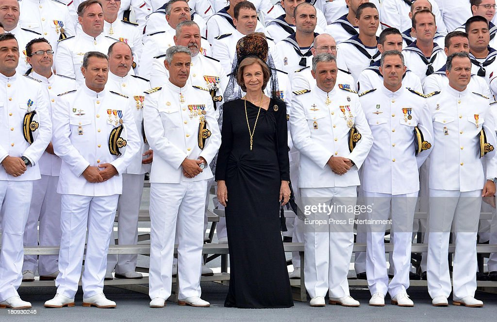 Queen Sofia of Spain attends LHD 'Juan Carlos I' battle flag delivery on September 17, 2013 in Cadiz, Spain.