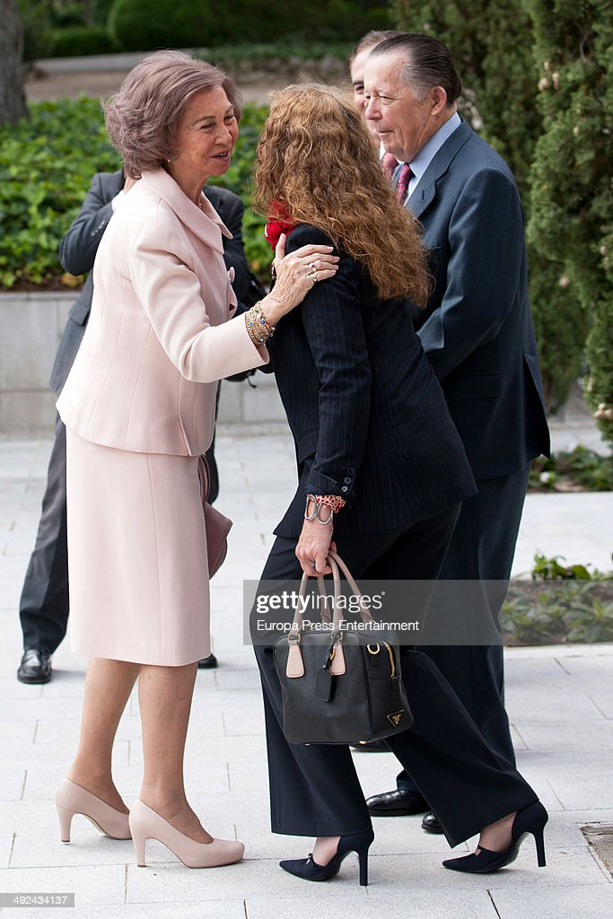 Queen Sofia of Spain attends Mapfre Foundation Awards and meets her daughter Princess Elena of Spain who works at Mapfre Foundation and Carlos de...
