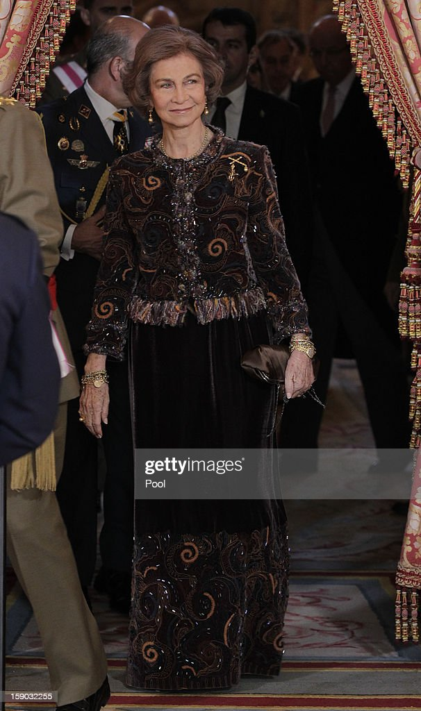 Queen Sofia of Spain attends new year's military parade at Royal Palace on January 6, 2013 in Madrid, Spain.