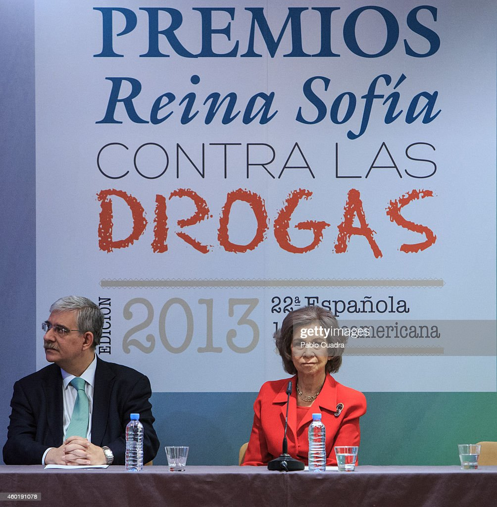 Queen Sofia of Spain (R) attends 'Queen Sofia Against Drugs' awards ceremony at the Red Cross foundation building on December 9, 2014 in Madrid, Spain.