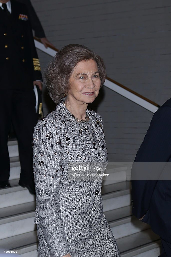 Queen Sofia of Spain attends 'Spanish Legacy In The US' Exhibition at Casa de America on December 12 2013 in Madrid Spain