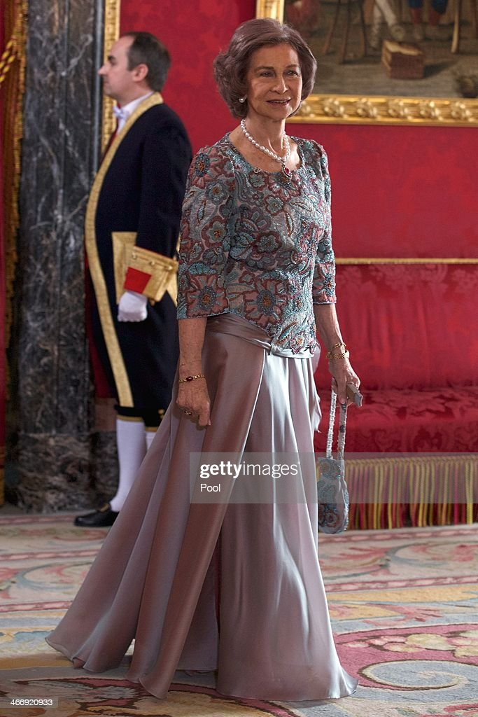Queen Sofia of Spain attends the annual Foreign Ambassadors reception at the Royal Palace on February 5 2014 in Madrid Spain