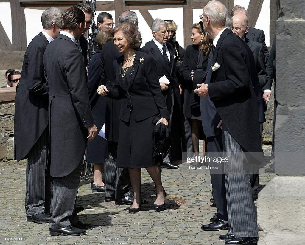 <a gi-track='captionPersonalityLinkClicked' href=/galleries/search?phrase=Queen+Sofia+of+Spain&family=editorial&specificpeople=160333 ng-click='$event.stopPropagation()'>Queen Sofia of Spain</a> (C) attends the funeral service of Moritz Landgrave of Hesse at Johanniskirche on June 3, 2013 in Kronberg, Germany. Moritz of Hesse died aged 86 years on May 23 in Frankfurt. A great-grandson of the Emperor Frederick III and great-grandson of Queen Victoria, he was related to many European royal families.