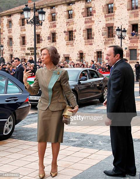 Queen Sofia of Spain attends the inauguration of the Royal Cloths Factory of Ezcaray on April 26 2012 in La Rioja Spain