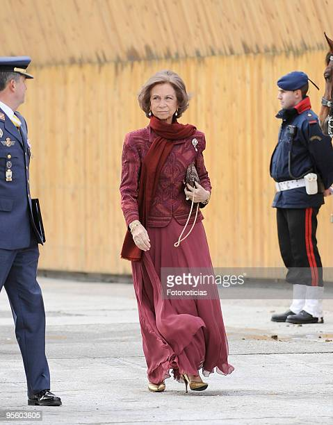 Queen Sofia of Spain attends the Military Pasques annual reception at The Royal Palace on January 6 2010 in Madrid Spain
