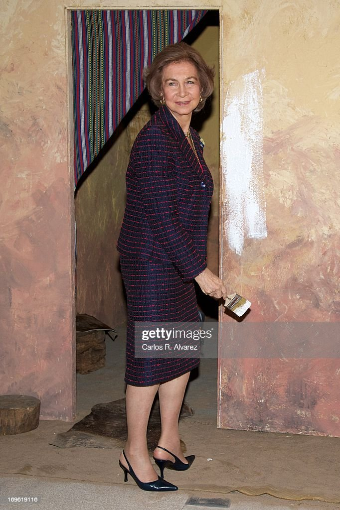 Queen Sofia of Spain attends the 'Mujeres Por Africa' exhibition at the COAM on May 29, 2013 in Madrid, Spain.