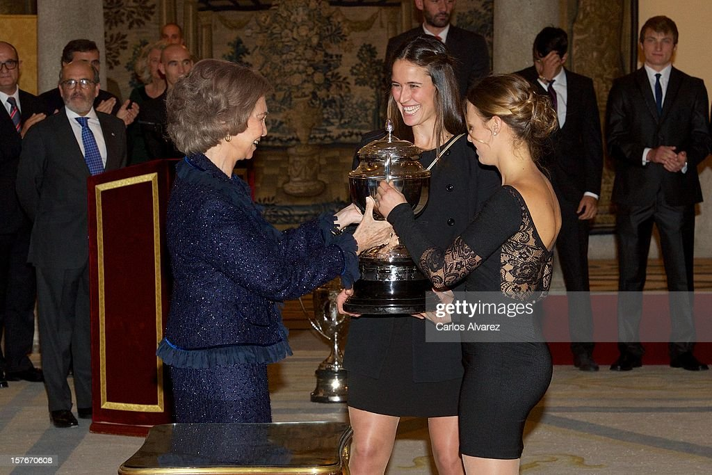 Queen Sofia of Spain (L) attends the National Sports Awards ceremony at El Pardo Palace on December 5, 2012 in Madrid, Spain.