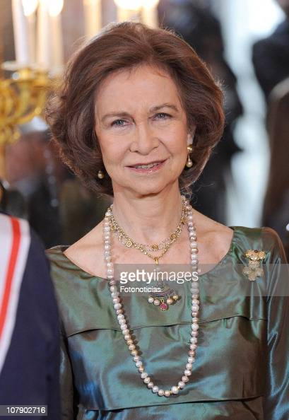 Queen Sofia of Spain attends the new year Pascua Militar ceremony at The Royal Palace on January 6 2011 in Madrid Spain