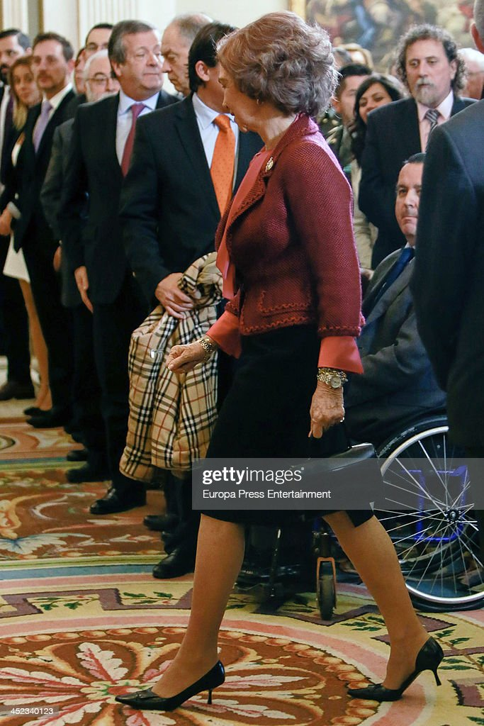 <a gi-track='captionPersonalityLinkClicked' href=/galleries/search?phrase=Queen+Sofia+of+Spain&family=editorial&specificpeople=160333 ng-click='$event.stopPropagation()'>Queen Sofia of Spain</a> attends the 'Queen Sofia Against Drugs Awards' at Zarzuela Palace on November 27, 2013 in Madrid, Spain.