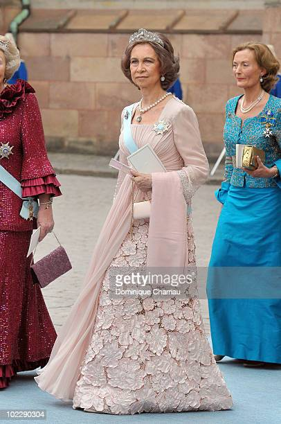Queen Sofia of Spain attends the wedding of Crown Princess Victoria of Sweden and Daniel Westling on June 19 2010 in Stockholm Sweden