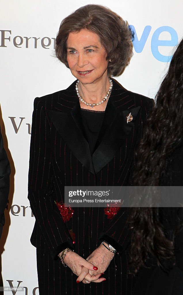 Queen Sofia of Spain attends 'Vicente Ferrer' Tv Movie presentation at Callao City Lights on January 8 2014 in Madrid Spain