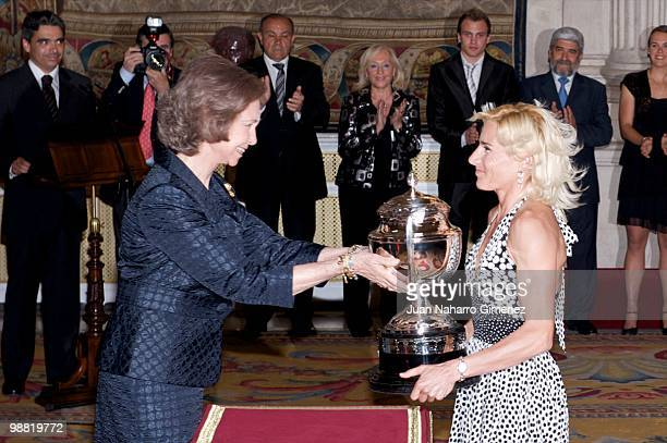 Queen Sofia of Spain awards Marta Dominguez the 'National sports awards 2009 at Palacio Real on May 3 2010 in Madrid Spain