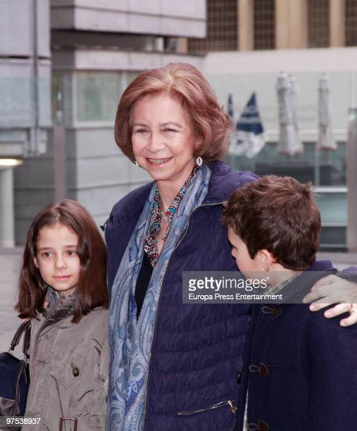 Queen Sofia of Spain brings her grandchildren Victoria Federica and Felipe Juan Froilan to a Disney Show on March 8 2010 in Madrid Spain