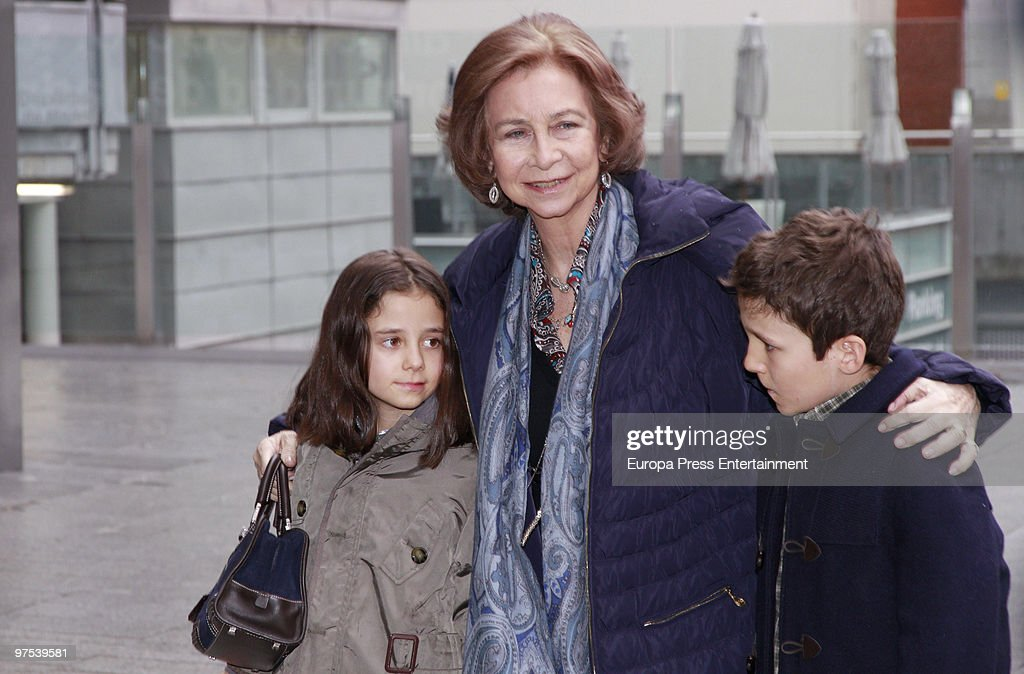 Queen Sofia of Spain brings her grandchildren Victoria Federica and Felipe Juan Froilan to a Disney Show on March 8, 2010 in Madrid, Spain.