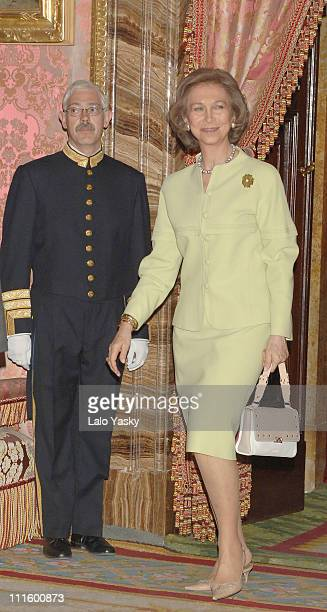 Queen Sofia of Spain during Crown Prince Felipe and Crown Princess Letizia of Spain Preside at a Literary Lunch in Madrid April 20 2006 at Royal...