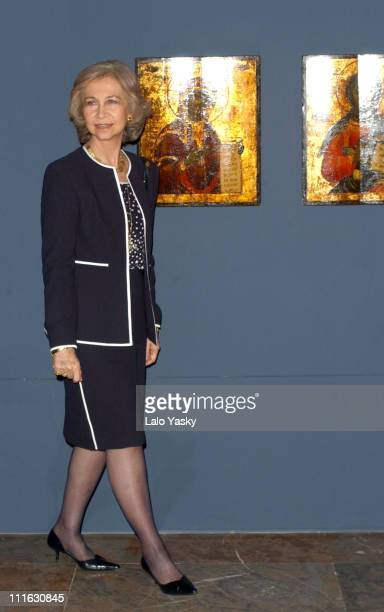 Queen Sofia of Spain during Queen Sofia Of Spain At 'Bizancio' Exhibition Madrid at Arqueologic National Museum in Madrid Spain
