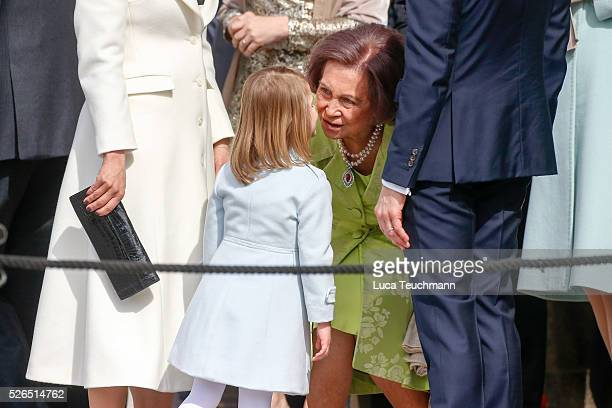 Queen Sofia of Spain greets Princess Estelle of Sweden are seen at the celebrations of the Swedish Armed Forces for the 70th birthday of King Carl...