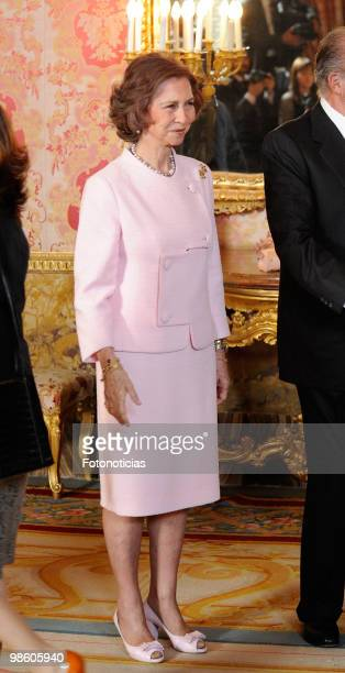 Queen Sofia of Spain hosts a literary reception in ocassion of the Cervantes Literary Award at The Royal Palace on April 22 2010 in Madrid Spain