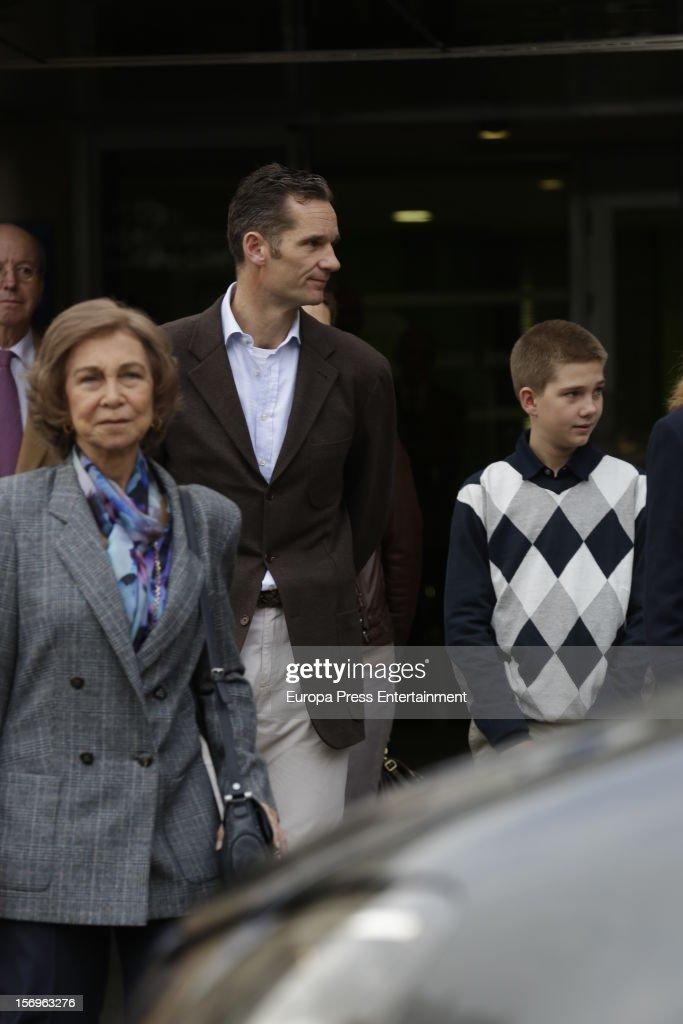 Queen Sofia of Spain, Inaki Urdangarin and his son Juan Valentin Urdangarin visit King Juan Carlos of Spain on November 25, 2012 in Madrid, Spain. King Juan Carlos of Spain underwent an operation on his left hip.