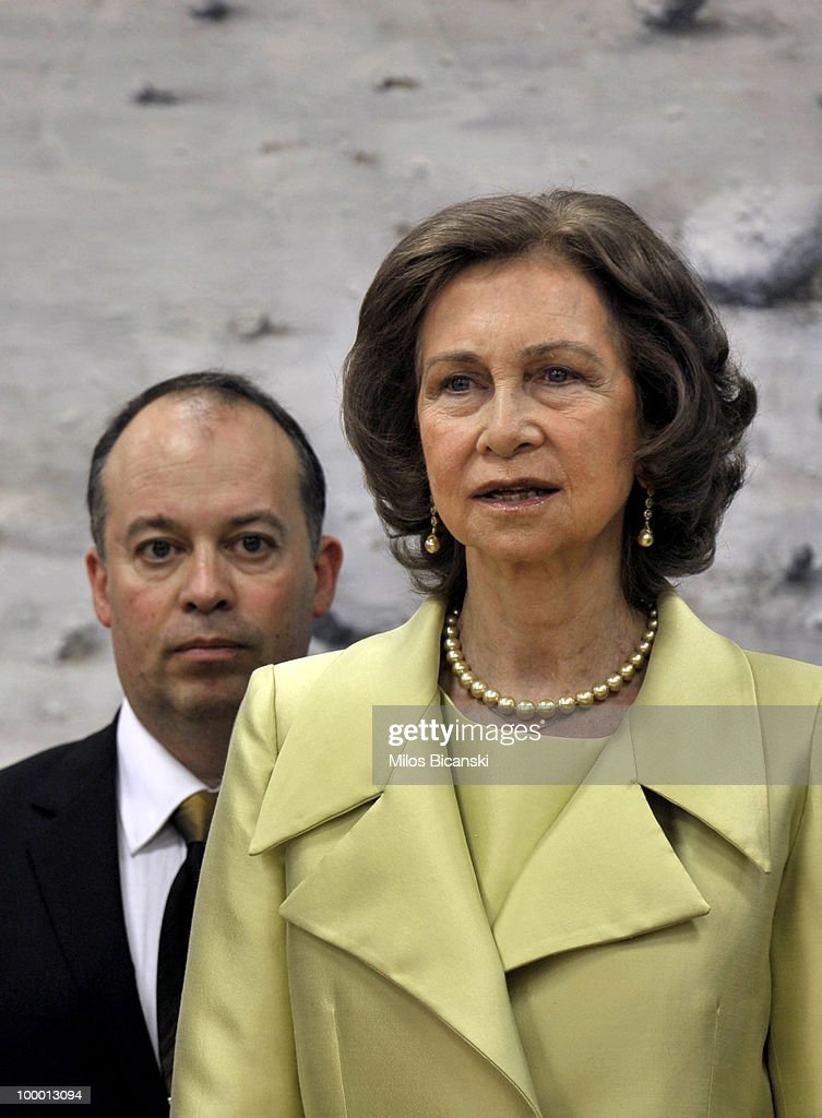 Queen Sofia of Spain inaugurates the new building of the Cervantes Institute in central Athens, on May 19, 2010 in Athens, Greece. The Cervantes Institute was created to promote the Spanish language and culture. Queen Sofia was visiting the Institute during a two-day visit in Greece.