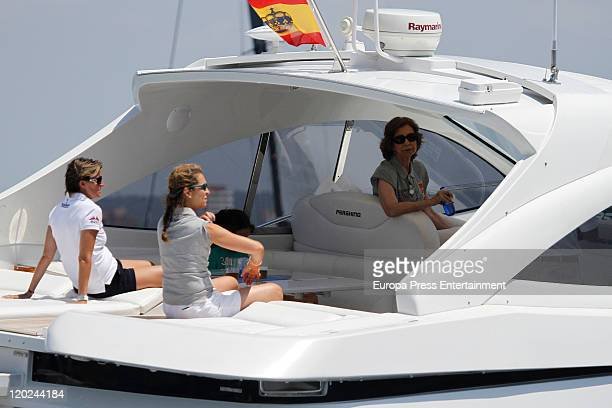 Queen Sofia of Spain Infanta Elena and Maria Zurita are seen on board of the Somni during the 30th Copa del Rey Audi Mapfre Sailing Cup on August 1...
