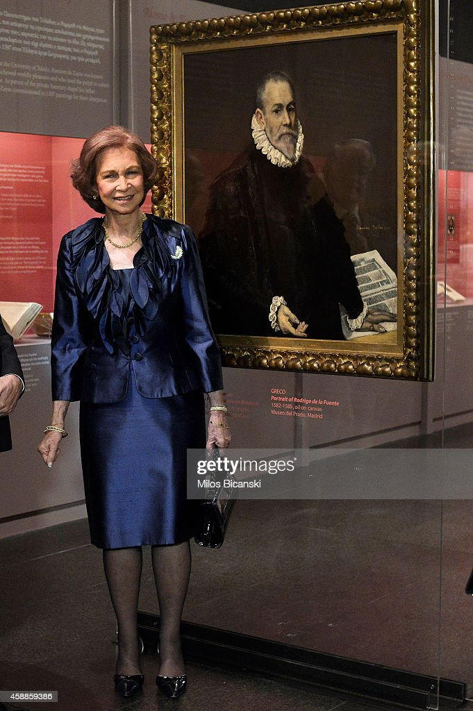 Queen Sofia of Spain is guided attends the opening of the exhibition 'Friends and Patrons of El Greco in Toledo' at Benaki Museum on November 12, 2014 in Athens, Greece. The exhibition is a tribute to the 400th anniversary of the death of Spanish Renaissance artist El Greco.