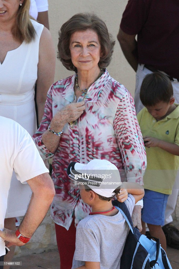 <a gi-track='captionPersonalityLinkClicked' href=/galleries/search?phrase=Queen+Sofia+of+Spain&family=editorial&specificpeople=160333 ng-click='$event.stopPropagation()'>Queen Sofia of Spain</a> is seen in Mallorca on July 29, 2013 in Mallorca, Spain. Princess Cristina of Spain comes back to Mallorca after two years.