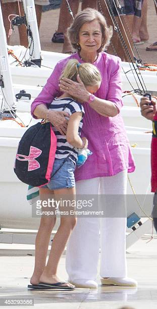 Queen Sofia of Spain is seen speaking to her grandaughter Irene Urdangarin on July 30 2014 in Palma de Mallorca Spain
