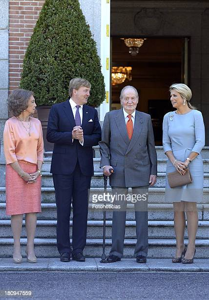 Queen Sofia of Spain King WillemAlexander of The Netherlands King Juan Carlos of Spain and Queen Maxima of The Netherlands meet at Zarzuela Palace on...