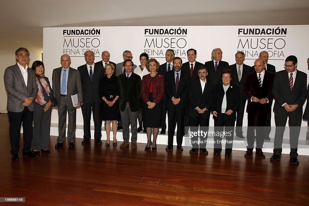 Queen Sofia of Spain meets Reina Sofia Museum Team on November 23, 2012 in Madrid, Spain.